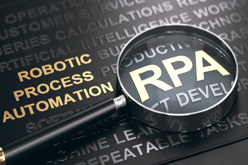 RPA, Accronym of Robotic Process Automation written in golden letters over black background with magnifying glass. 3D illustration.