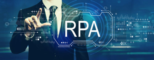 Robotic process automation concept with businessman on a dark blue background
